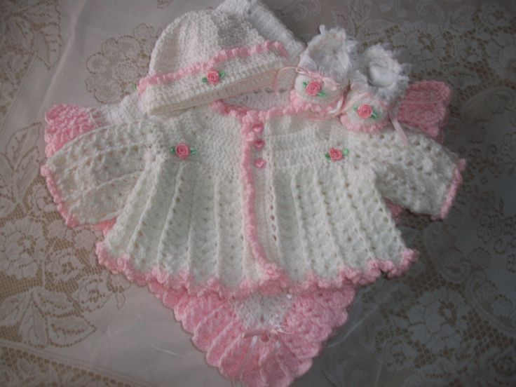 Crochet Baby Hat And Sweater Pattern : Crochet Baby Girl Pink And White Sweater Set Bonnet ...