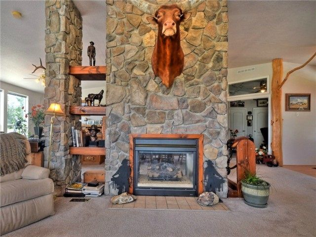 High ceilings in living room. Double sided propane fireplace.