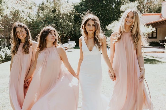 Blush bohemian bridesmaids | Image by  Lauren Scotti