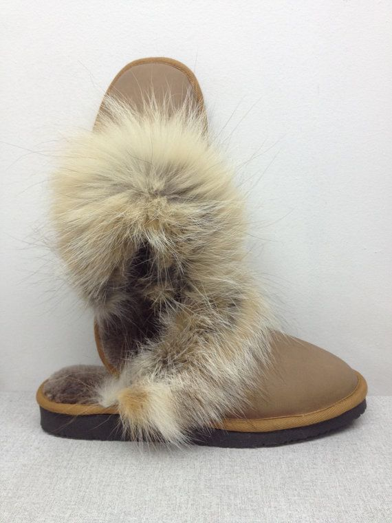 Brand New Made to order Womens Sheepskin slippers scuffs w Gold Fox Fur & real Italian leather