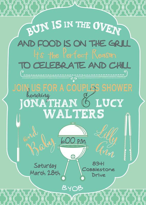 Couples Baby Shower Cookout Invitation / printable / digital file / colors can be changed