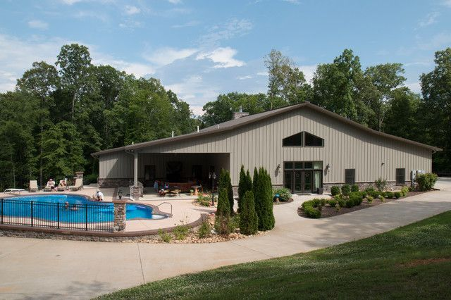 American classics full metal building home w pool for Morton building homes for sale