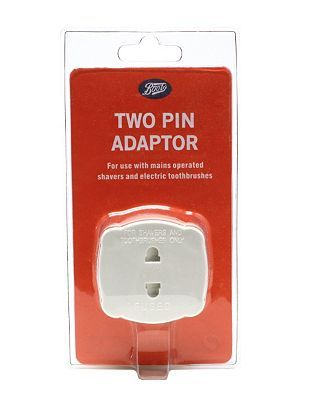 Boots Two Pin Plug Adaptor - 2 Pin Shaver or 16 Advantage card points. The Boots2 Pin Adaptor plug is for use with all mains operated foil and rotary shavers electric toothbrushes, epilators and ladyshaves as well as other electrical beauty item http://www.MightGet.com/april-2017-1/boots-two-pin-plug-adaptor--2-pin-shaver-or.asp