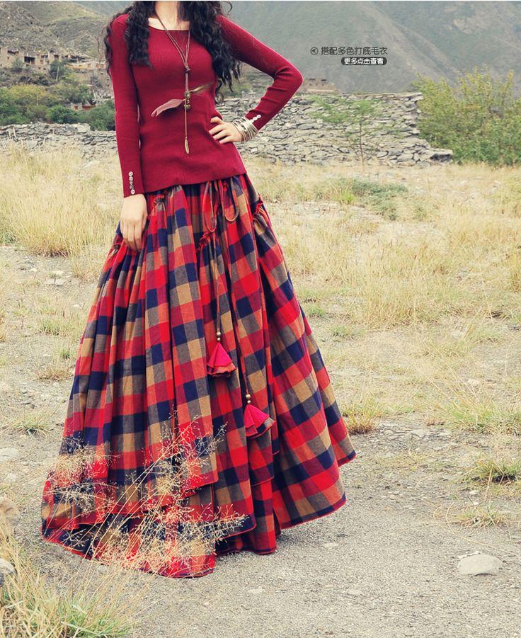 Long Maxi Plaid Skirts Irregular A line Autumn Elastic Waist Bohemian Skirt