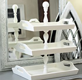 *Shabby Sweet Cottage: Stacked Trays. Repurposed 3 trays and 3 candle sticks glued together. Upcycle