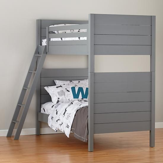 Uptown Bunk Bed (Grey)  So expensive but I do kinda love this with the grey.  Add pink down comforters or even grey with light pink sheets would look really cute  Add trundle bed