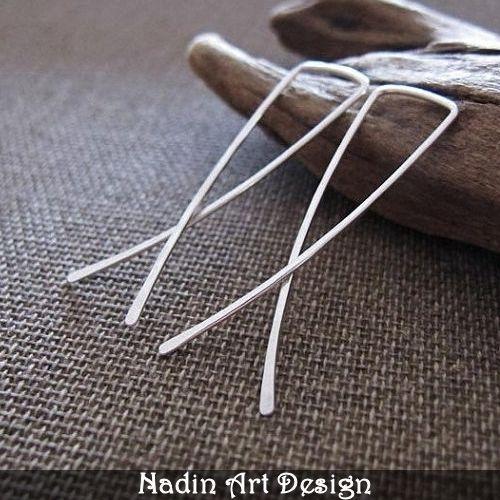 Modern Bow Earrings in Sterling Silver from NadinArtDesign by DaWanda.com