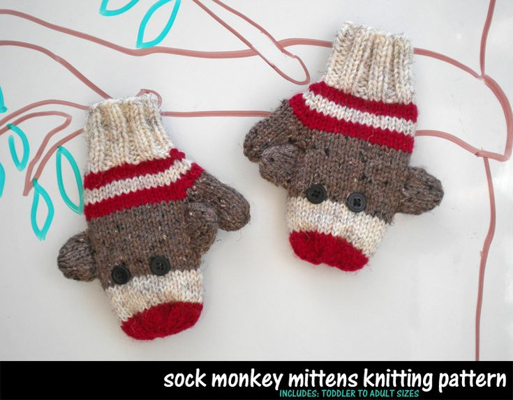 Sock Monkey Mittens Knitting Pattern - I would love to be able to make these. So cute!