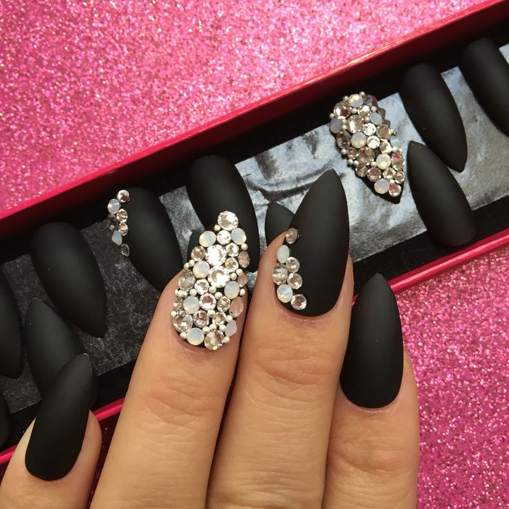 prom nails matte black nails with swarovski crystals
