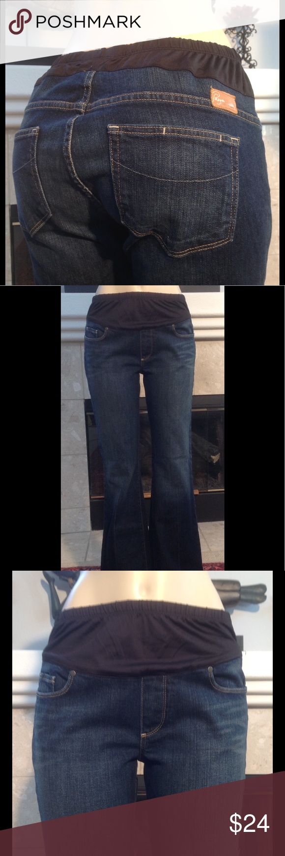 "Paige Premium Denim Maternity Jeans Size 32 (754) Paige premium designer maternity Bootcut jeans  Size 32 Approximate measurements are inseam 31, waist 17"" but can be stretched much more In great used condition with no tears holes or stains From a smoke free home (754) Paige Jeans Jeans Boot Cut"