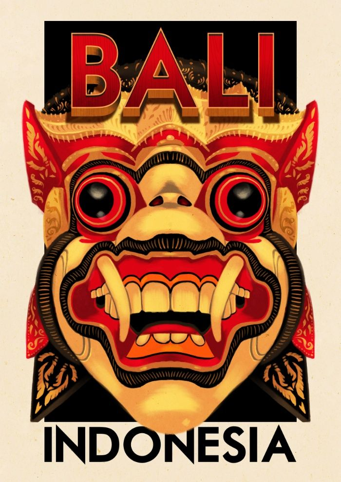 Fridge Magnet Bali Indonesia travel poster featuring