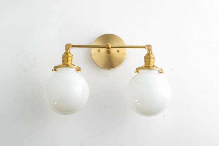 Etsy Bathroom Lighting - Bathroom Vanity Light - Modern Vanity Fixture - Brass Vanity Light - Globe Ligh
