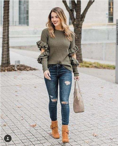 41460e8514 olive ruffle sleeve blouse-Winter quick and easy fashion tips – Just Trendy  Girls