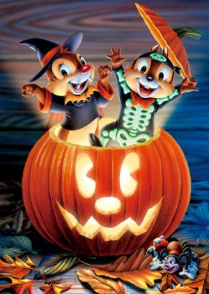 Japan Tenyo Disney Jigsaw Puzzle Chip n Dale D-108-990 Halloween Show Time
