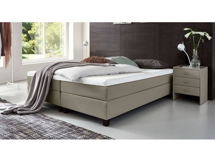 Box Spring Bed Without Headboard 120x200 Cm Sand Colored H2