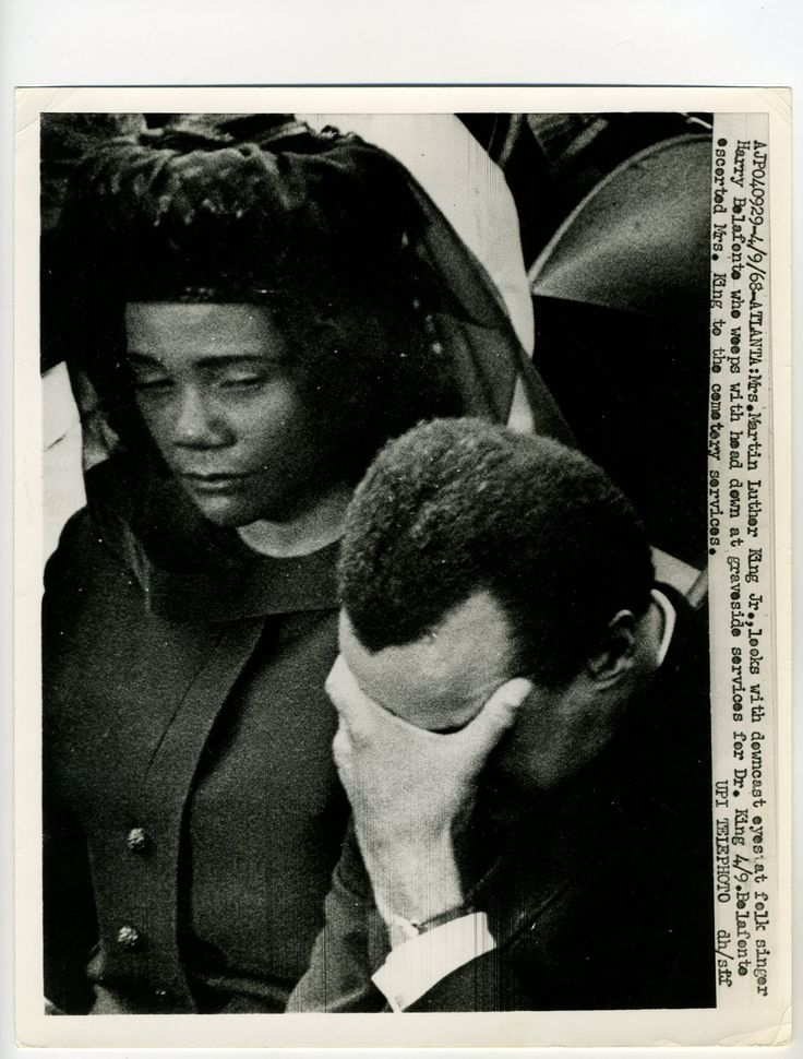 Harry Belafonte sobbing at MLK Jr.'s funeral.   When we think about MLK's death, we think of the legendary Civil Rights activist. I think most of us fail to consider that MLK was a son, a husband, a father; and as this picture reveal, a friend.