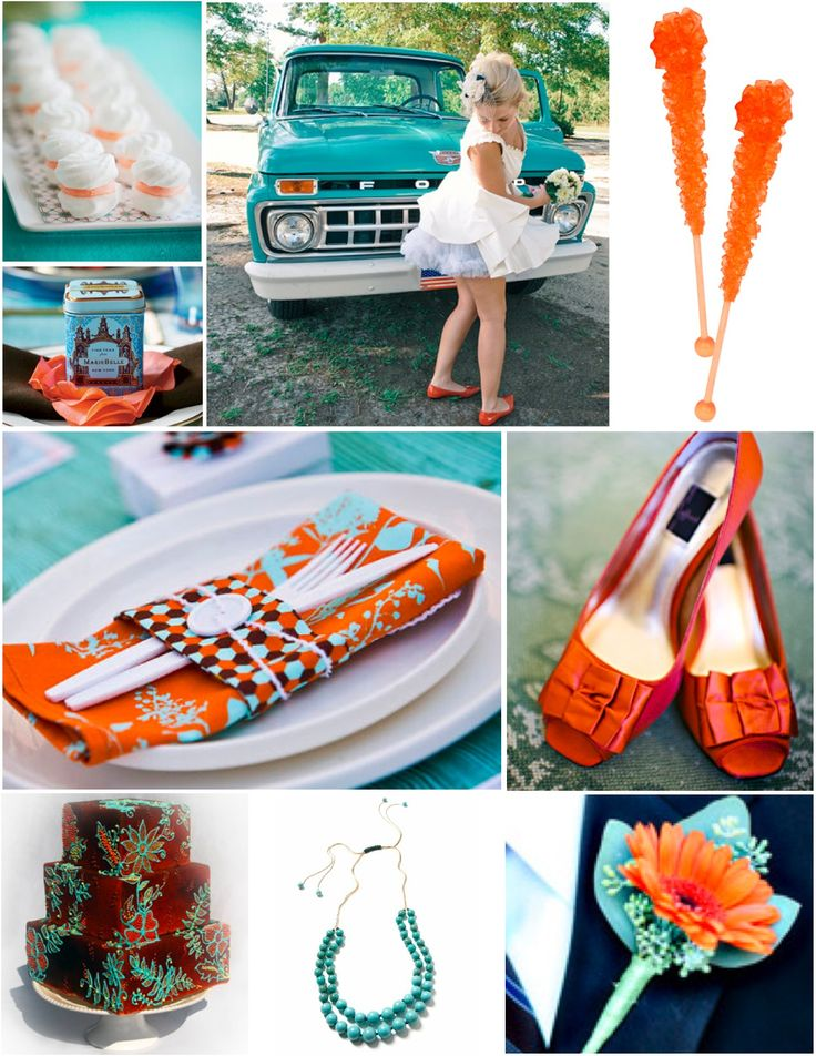orange wedding reception pictures | Burnt Orange, Turquoise and Chocolate Brown | WeddingAces