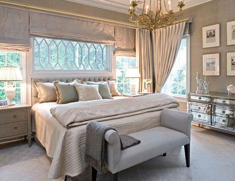 Platinum, gold and cream envelope this dreamy bedroom