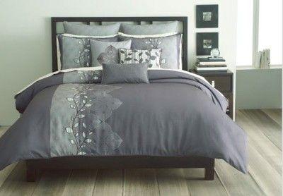 Bryan Keith Oxford 9pc KING Comforter Set Gray Green Plum ...