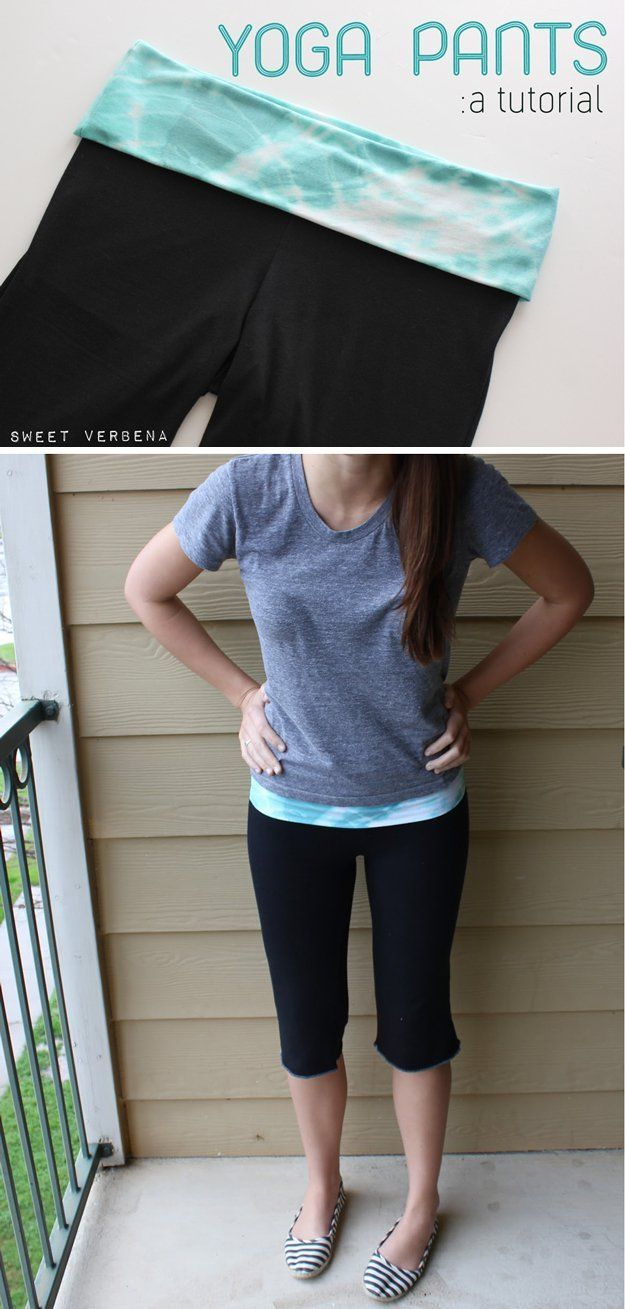 Cute and Easy Pants Design Ideas for Women | DIY Yoga Pants by DIY Ready at http://diyready.com/diy-clothes-pants-skirts-for-women/