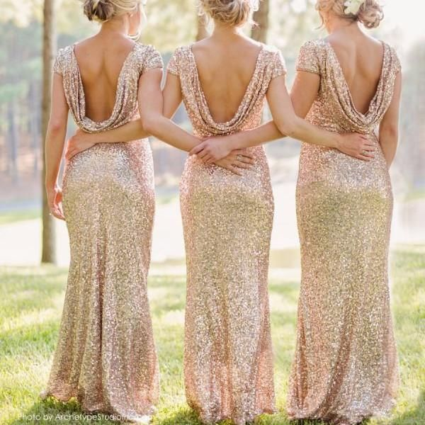 Don't want to wear normal party dress? This backless sequined long dress will be the best choices. It's will make you shinning and eye-catch. Size:S,M,L,XL,XXL Color:Champagne Style: Bridesmaid backle