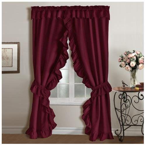 Colored Priscilla Curtains | Plymouth Priscilla Curtain - Color: Burgundy
