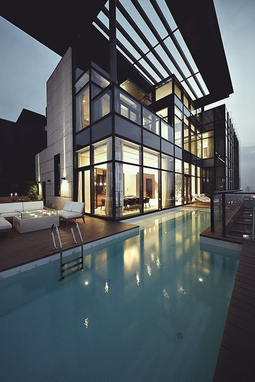Modern architecture. Mansion with pool.