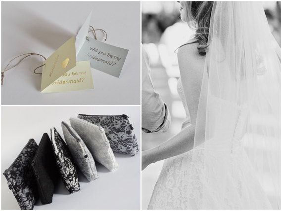 Elegant Goth Wedding Purses  <><><>  You can personalize your gift with a tag - silver/gold foil wording on silver/gold paper tag. Please, leave a note at checkout with the names of bridesmaids!  <><><>  + neutral colors + classic elegance + practical size  Size: W -24cm H - 12cm D - 2cm (9 1/2 X 5 X 3/4)  + two inside slip pockets + zipper closure  Please, feel free to contact me with any questions you may have!  Back to shop: www.etsy....
