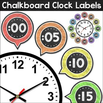 """Chalkboard Theme Clock Labels: These fun chalkboard theme labels will look fantastic around your classroom clock!  This product includes labels in 5 minute increments as well as labels for """"o'clock"""", """"quarter past"""", """"half past"""", and """"quarter to"""". An editable PowerPoint file is included if you would like to change the wording or language of the rectangular labels."""