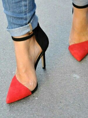 Zara heels, red, black, pointe