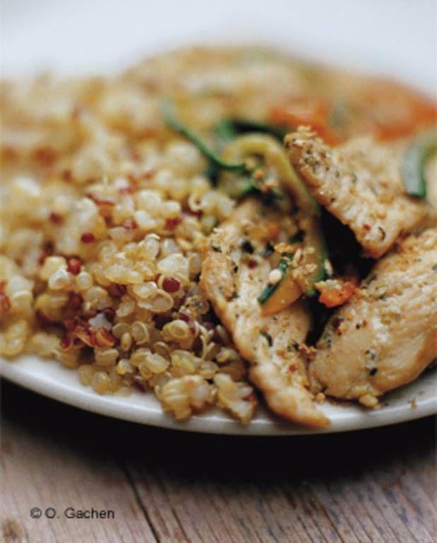 Emincés de volaille aux petits légumes et quinoas pour 4 personnes - Recettes Elle à Table