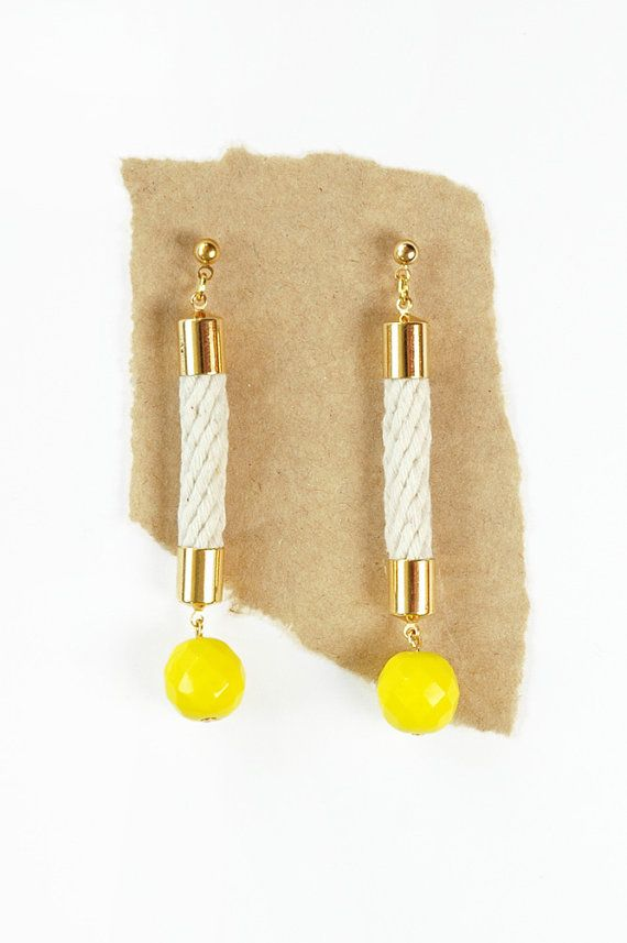 Rope and Bead Earrings  Long Earrings  Yellow by HearsayDesigns