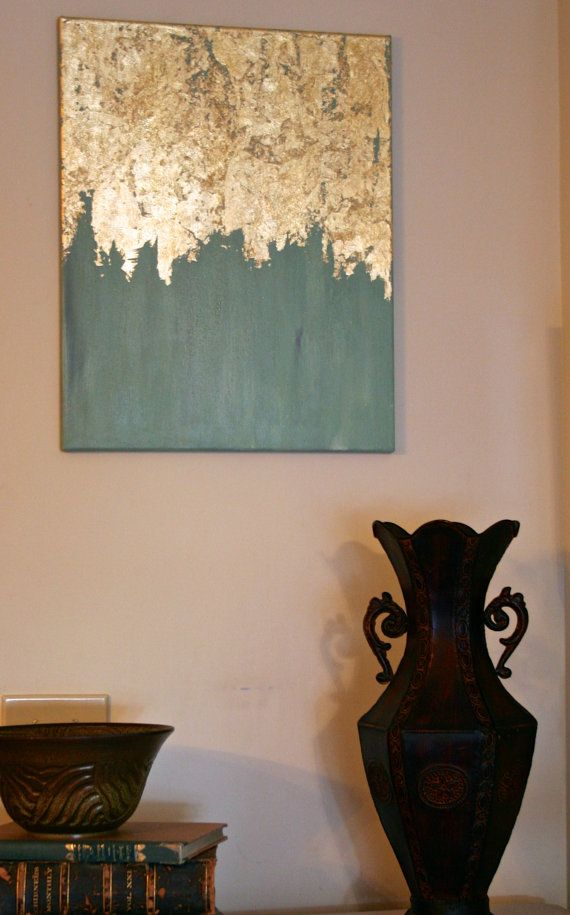 Gold leaf instantly elevates the standard of any piece of art. Here in this abstract piece I have painted a rich, cooler teal to contrast with the