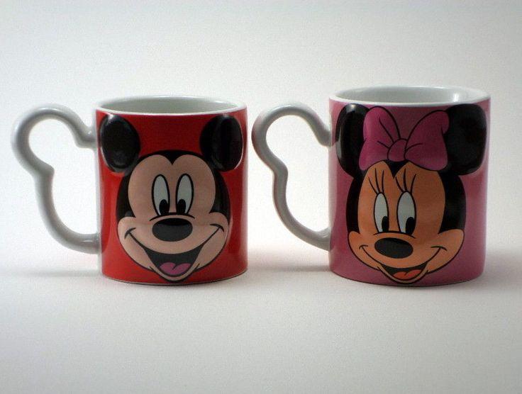 2 Set Walt Disney Mickey Minnie Mouse Coffee Cup Mug Ceramic Red Pink 3D Face  #Monogram #ebayrocteam #disneystyle