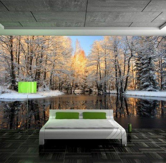 papier peint trompe loeil lit blanc dans la chambre coucher lampe - Lampe De Salon