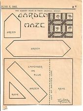 Garden Maze Patchwork Original Newspaper Kansas City Star Quilt Block Pattern
