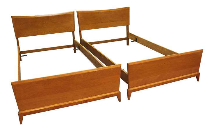 Heywood Wakefield Mid-Century Twin Size Bed Frames - A Pair on Chairish.com