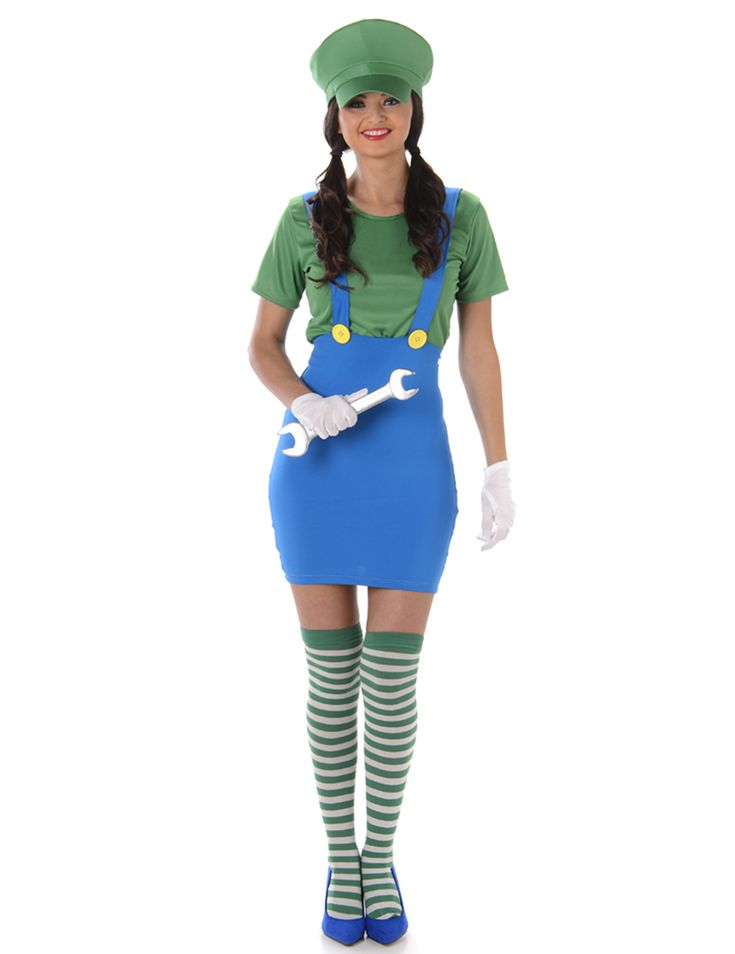 Green plumber costume for women: This green plumber costume for women consists of a skirt, a t-shirt, a pair of socks and a cap. (Shoes, gloves and accessories not included.)The high skirt is blue with two shoulder straps. It is...