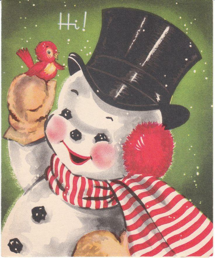 Vintage SnowmanChristmascards, Vintage Christmas Cards, Snowman Christmas, Vintage Wardrobe, Mid Century, Vintage Greeting Cards, Christmas Snowman, Snowman Cards, Vintage Cards