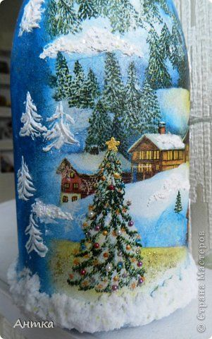 Decor Wall newspaper articles Decoupage New Year Sculpting Drawing and painting holiday comes to us Bottles, glass photo 2