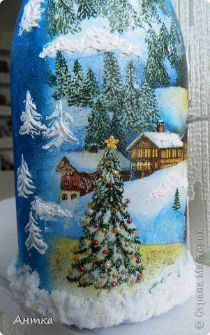 Декор предметов Стенгазета Новый год Декупаж Лепка Рисование и живопись Праздник к нам приходит  Бутылки стеклянные фото 2