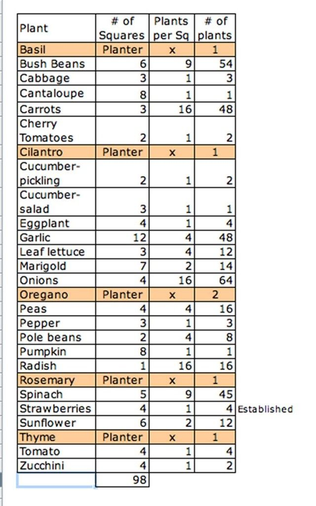 Great square foot gardening guide