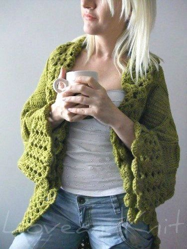 Big Olive Green Cardigan by LoveandKnit on Etsy, $125.00