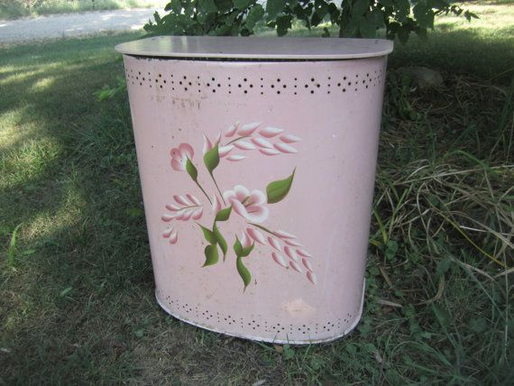 Vintage Metal Pink Laundry Hamper