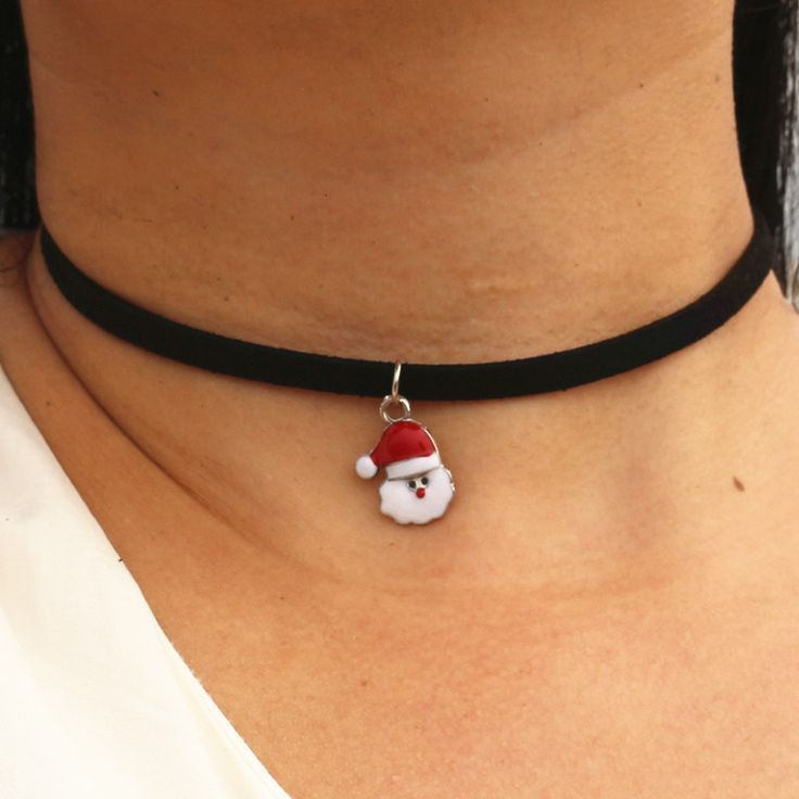 N956 Santa Choker Necklaces Women Black Velvet Leather Collares Fashion Jewelry Gothic 90's Bijoux ras de cou Christmas Gift