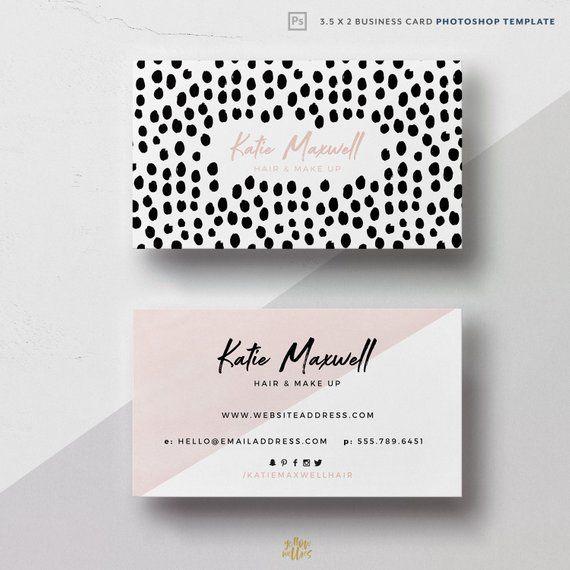 Corjl Editable Blush Dot Business Card Template Polka Dot Etsy Makeup Artist Business Cards Artist Business Cards Business Card Photoshop