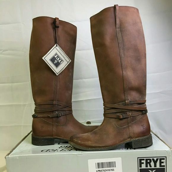 Frye Shirley plate riding boots brown leather 9 Frye Shirley plate tall knee high riding cognac brown distressed leather boots. They are new in the box.  They are made of thick distressed leather and still smell like the Frye store! They are gorgeous boots and will last forever!  Women's size 9 Frye Shoes Combat & Moto Boots