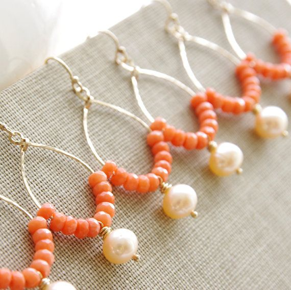 Coral Bridesmaid Earrings Set of 6 Bridesmaid Gifts Peach Coral Wedding Jewelry Peach Coral Earrings Pearl Gold Hoop Handmade Bridal Jewelry. $205.20, via Etsy.
