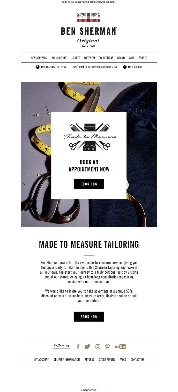 #newsletter Ben Sherman 06.2017 50% off your first made to measure suit order