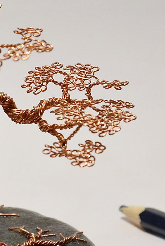 Hand made decoration art Bonsai wire tree on the stone sculpture made by Minskis    Size: less than 12  Wire: copper wire; Base: decorated on the stone    Great as a gift for special friends or decoration anywhere tabletop, desk or bookshelf's    If you have any further questions about the shipping, certain wire tree or individual order, please email me. I am happy to answer any questions!Please feel free to contact me with any questions or comments    International Buyers – Please Note…